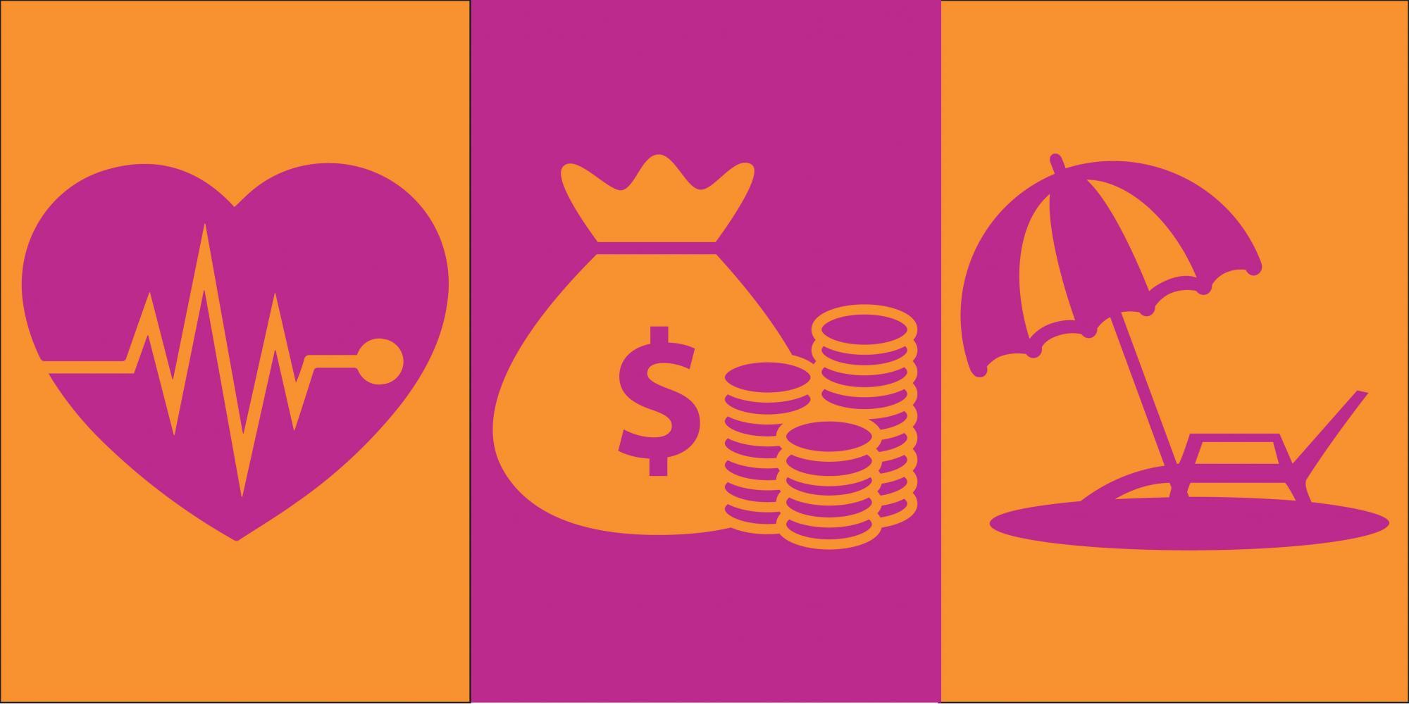 Heart icon, money icon, umbrella icon in orange and magenta