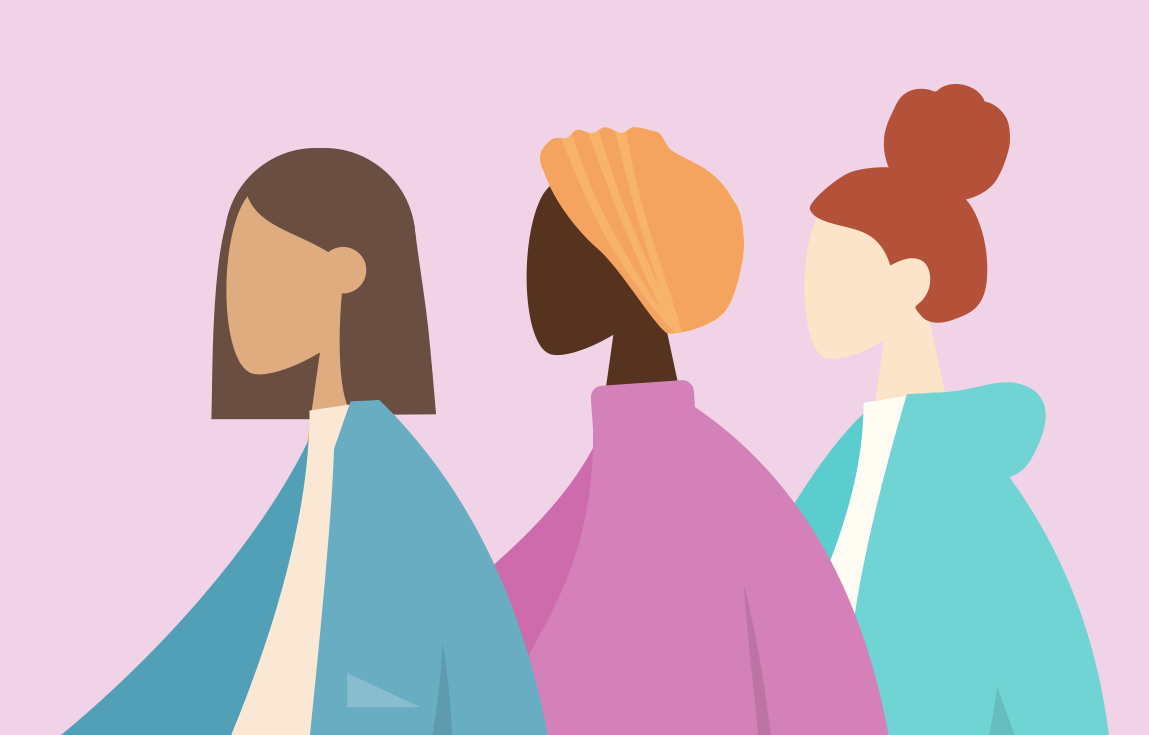 Graphic of three women