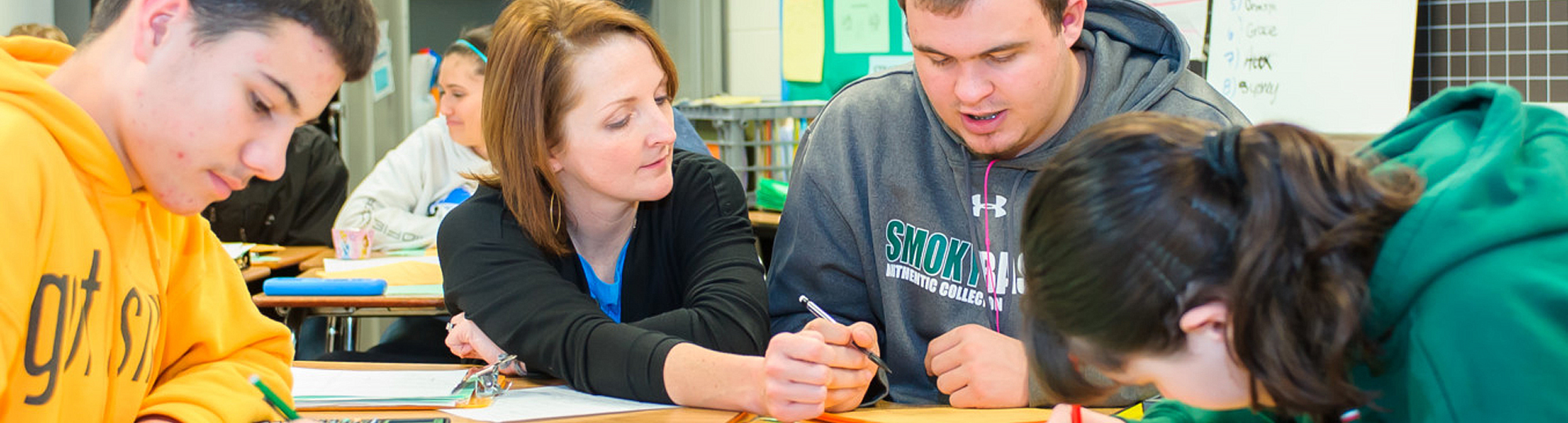 Woman teaching a male student