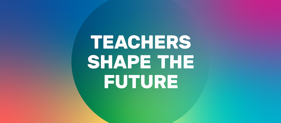 """A Facebook cover image that says, """"Teachers Shape the Future"""""""