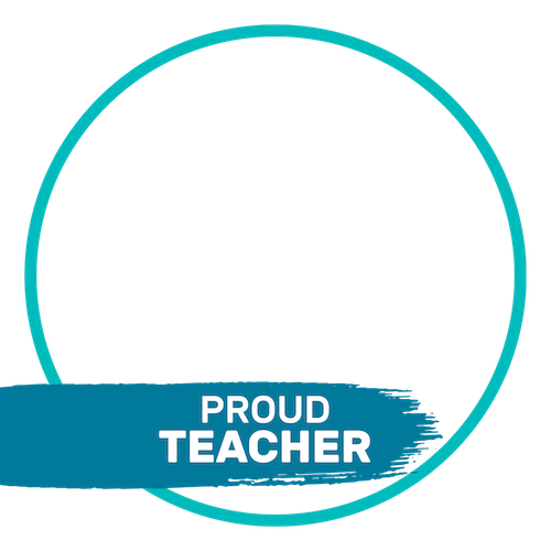 "A Facebook frame that says, ""Proud teacher"""
