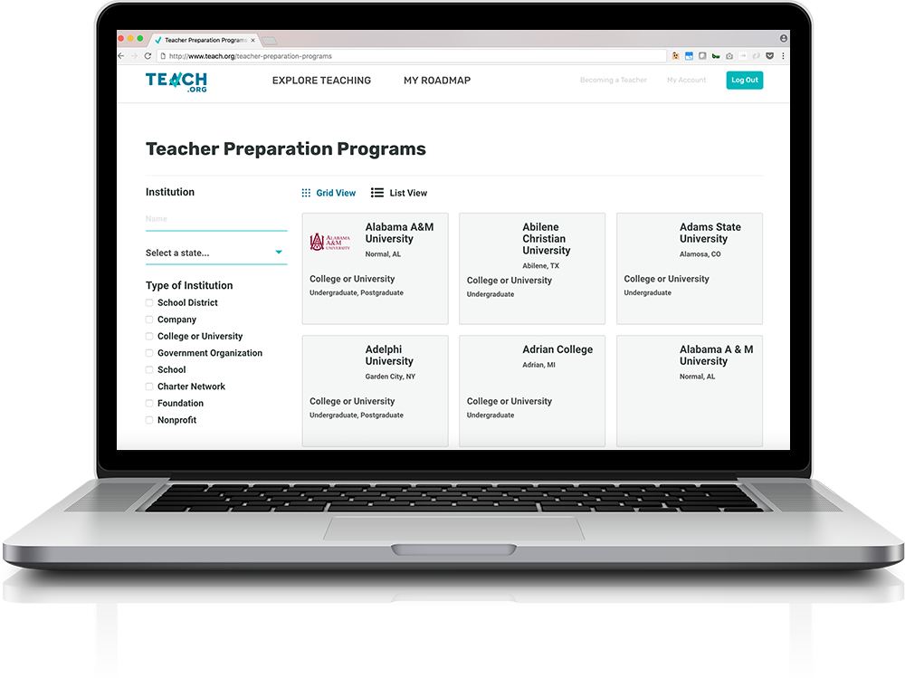 Screenshot of the TEACH.org Teacher Preparation App